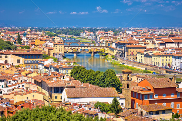 Florence city Arno river and ponte Vecchio aerial view Stock photo © xbrchx