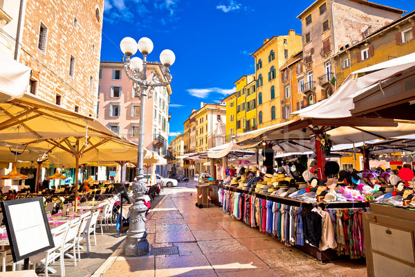 Piazza delle erbe in Verona street and market view Stock photo © xbrchx