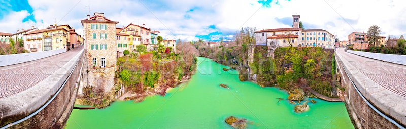 Brug rivier canyon schaal panoramisch Stockfoto © xbrchx
