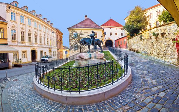Történelmi Zágráb utca kő kapu épület Stock fotó © xbrchx