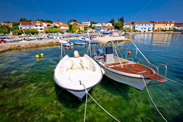 Town of Petrcane turquoise waterfront view Stock photo © xbrchx