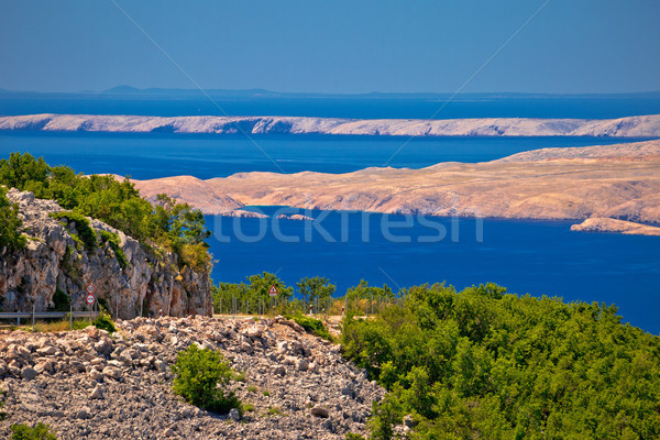Velebit channel seaside road and desert islands of Pag and Rab v Stock photo © xbrchx