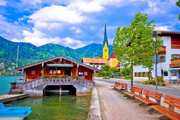 Idyllic german lake village Rottach Egern on Tegernsee lake Stock photo © xbrchx