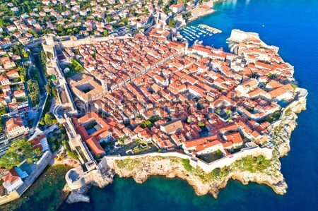 Historic city of Dubrovnik aerial panoramic view Stock photo © xbrchx