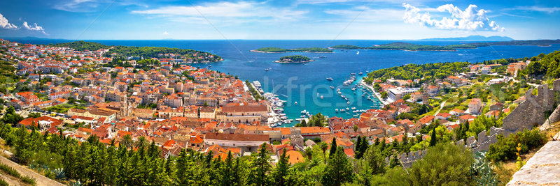 Island of Hvar bay aerial panoramic view Stock photo © xbrchx