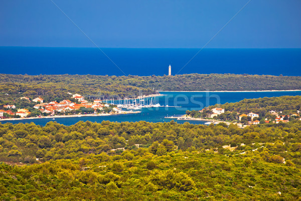 Aerial view of Veli Rat bay and lighthouse Stock photo © xbrchx