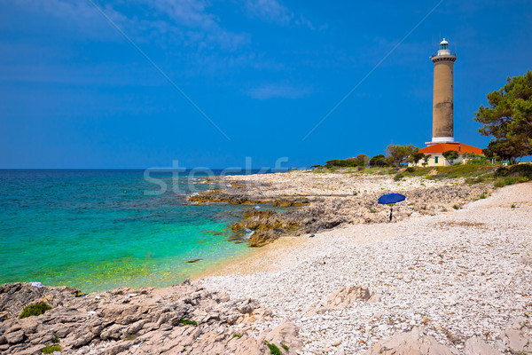 Sıçan deniz feneri turkuaz plaj görmek ada Stok fotoğraf © xbrchx