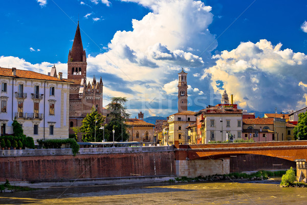 City of Verona Adige river San Fermo Maggiore church and Lambert Stock photo © xbrchx
