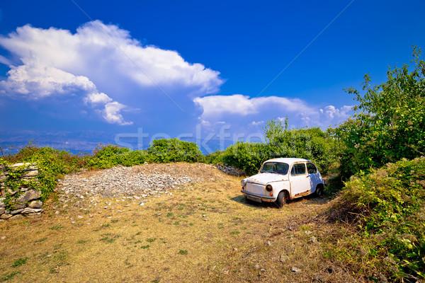 Old fashion car wreck in nature in Skrip vilage on Brac island Stock photo © xbrchx