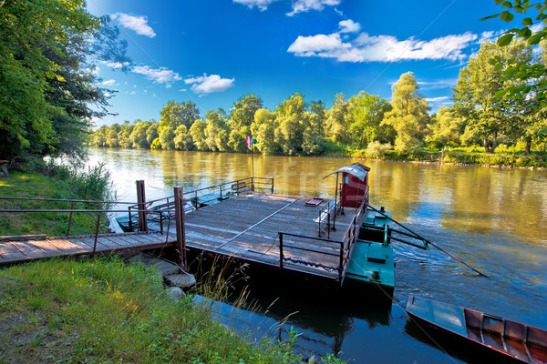 Ferry on Mura river in Medjimurje region view Stock photo © xbrchx