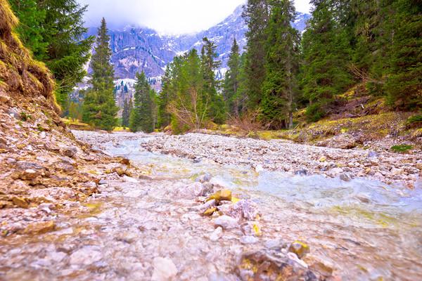 Hideg hegy patak Alpok kilátás dél Stock fotó © xbrchx