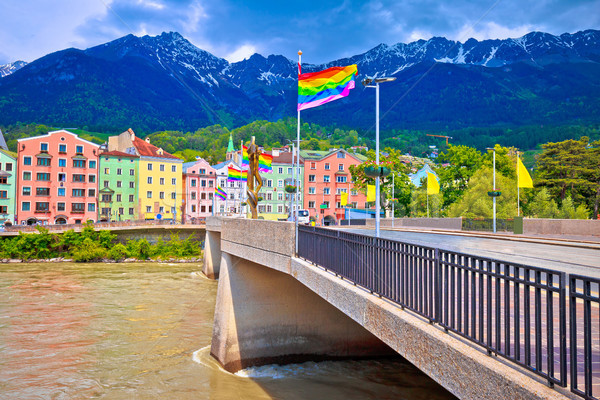 Colorful Innsbruck architecture and Inn river view Stock photo © xbrchx