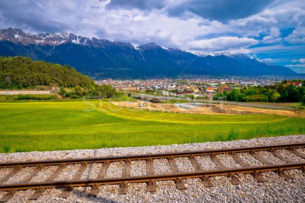 Panoramic aerial view of Innsbruck and Hafelekarspitze mountain  Stock photo © xbrchx