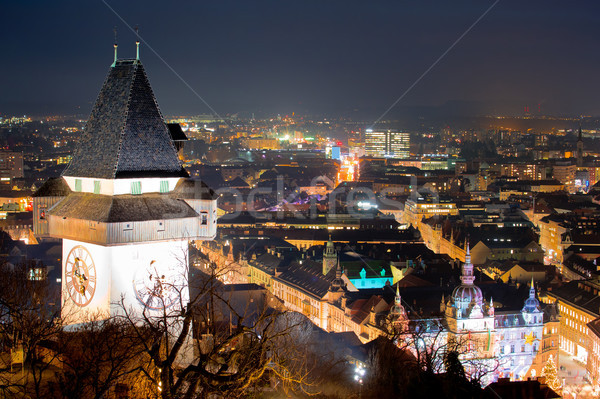Graz landmark and cityscape evening view from Schlossberg Stock photo © xbrchx