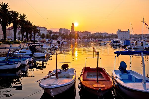 Golden morning sunrise in Split Stock photo © xbrchx