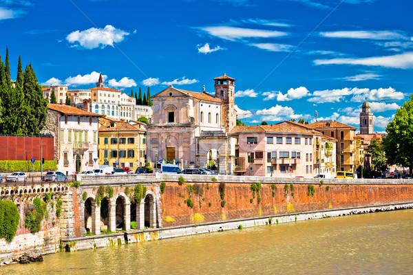 City of Verona Adige riverfront view Stock photo © xbrchx