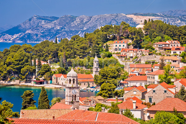 Town of Cavtat towers and waterfront view Stock photo © xbrchx