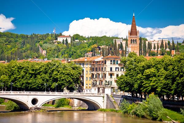 Verona bridge and Adige river view Stock photo © xbrchx