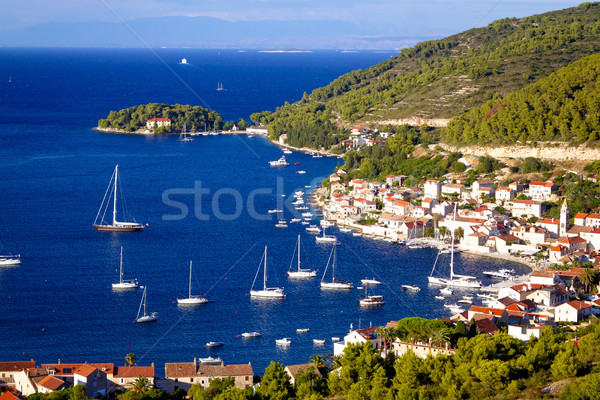 Island of Vis yachting bay Stock photo © xbrchx