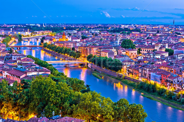 City of Verona and Adige river evening aerial view Stock photo © xbrchx