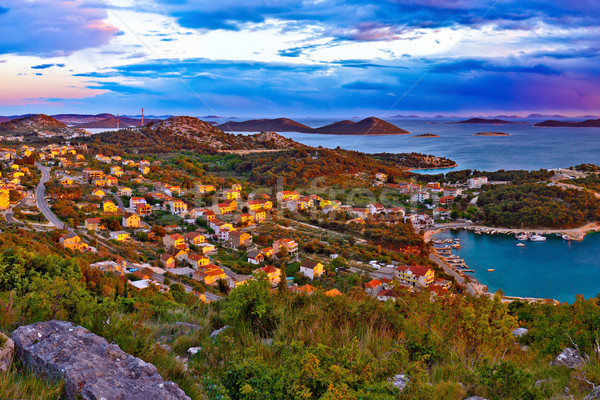 Amazing colorful sunset panorama of Pakostane archipelago Stock photo © xbrchx