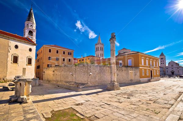 Starożytnych widoku miasta ulicy niebieski podróży Zdjęcia stock © xbrchx
