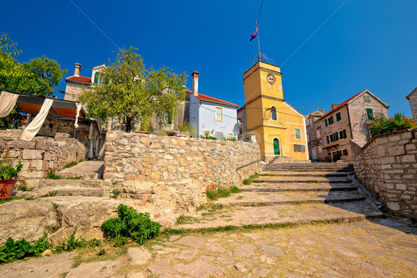 Mediterranean village of Zlarin stone architecture view Stock photo © xbrchx