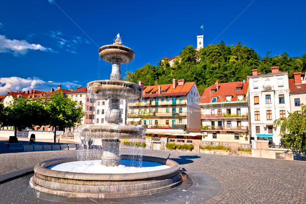 Ljubljana fountain and castle colorful view Stock photo © xbrchx