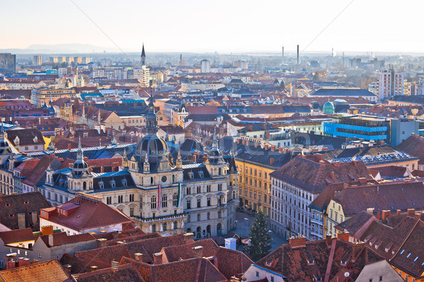 Graz city center aerial view Stock photo © xbrchx