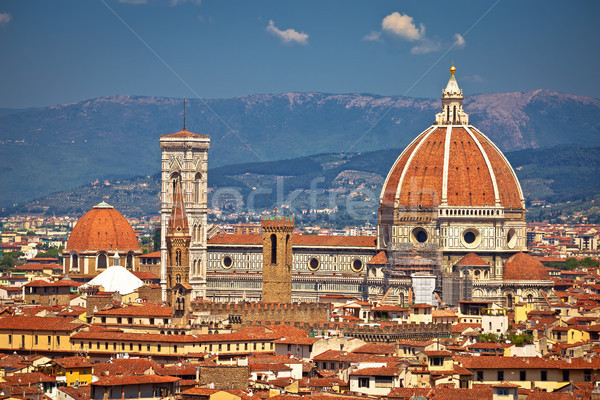 Florence rooftops and cathedral di Santa Maria del Fiore or Duom Stock photo © xbrchx