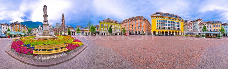 Bolzano main square Waltherplatz panoramic view Stock photo © xbrchx