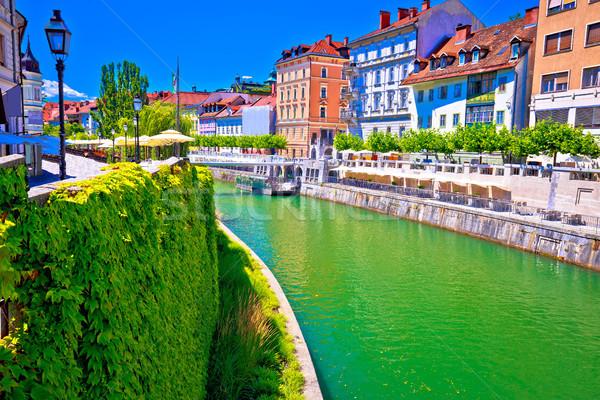 Green Ljubljanica river architecture view in Ljubljana Stock photo © xbrchx