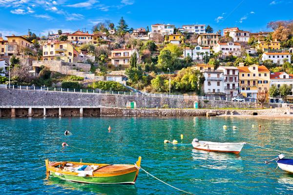 Village bord de l'eau turquoise mer ciel bleu ciel Photo stock © xbrchx