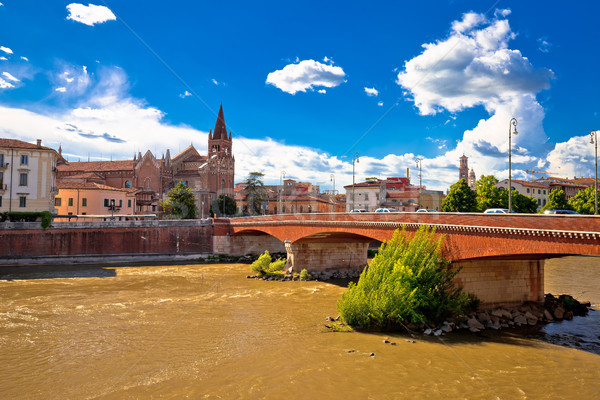 City of Verona Adige river and San Fermo Maggiore church Stock photo © xbrchx