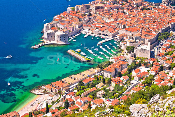 Town of Dubrovnik UNESCO world heritage site aerial harbor view Stock photo © xbrchx