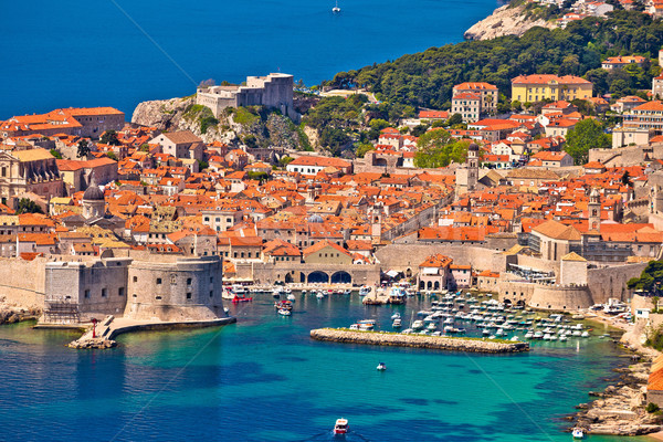 Town of Dubrovnik UNESCO world heritage site harbor view Stock photo © xbrchx