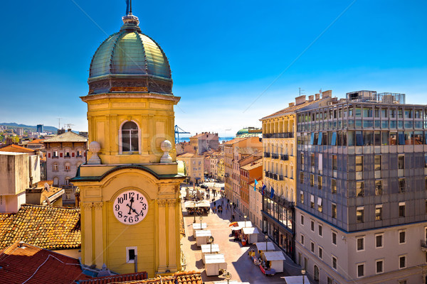 City of Rijeka clock tower and central square Stock photo © xbrchx