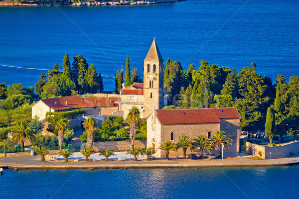Scenic island of Vis church and waterfront view Stock photo © xbrchx