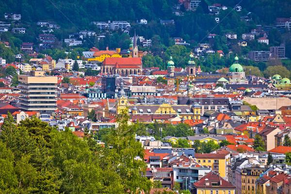 パノラマ 表示 屋根 建物 風景 山 ストックフォト © xbrchx