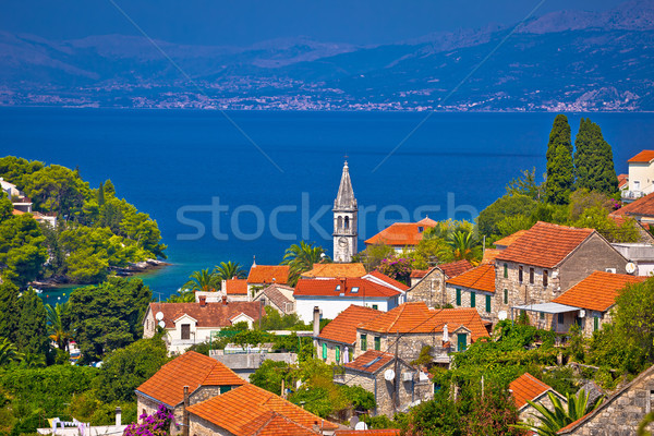 Splitska bay on Brac island view Stock photo © xbrchx