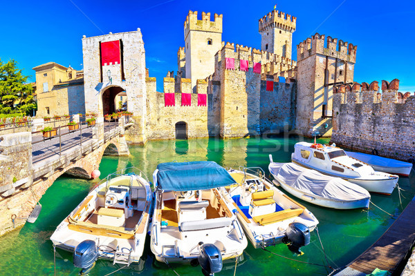 Town of Sirmione entrance walls view Stock photo © xbrchx