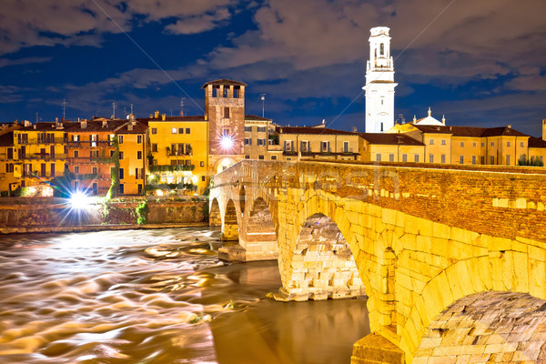 City of Verona Adige riverfront evening view Stock photo © xbrchx
