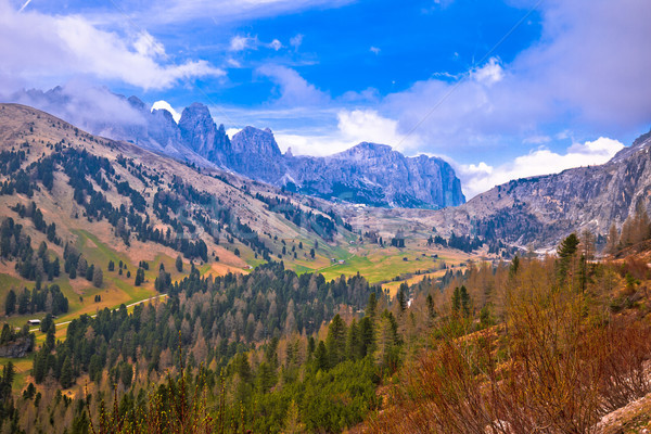 Alpine landscape of Gardena Pass in Dolomites Alps Stock photo © xbrchx