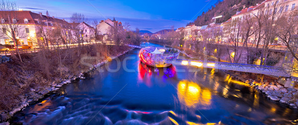 Stock photo: City of Graz Mur river and island evening view