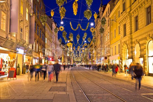 Graz golden street evening advent view Stock photo © xbrchx