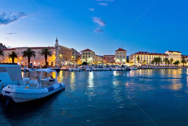 Split Prokurative seafront evening view Stock photo © xbrchx