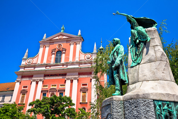 Presern square of Ljubljana landmarks view Stock photo © xbrchx
