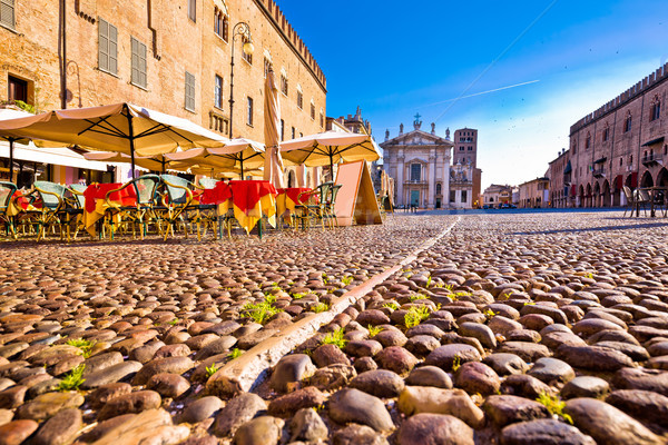 Mantova city paved Piazza Sordello and idyllic cafe view Stock photo © xbrchx