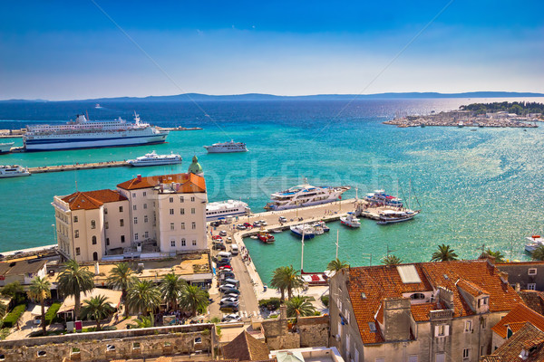 Split waterfront and harboar aerial view Stock photo © xbrchx