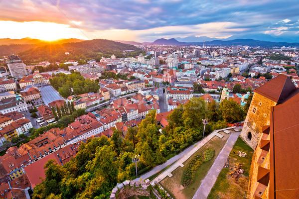 Sunset above Ljubljana aerial view Stock photo © xbrchx